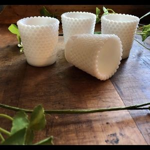 Vintage (4) hobnail milkglass votive holders, euc